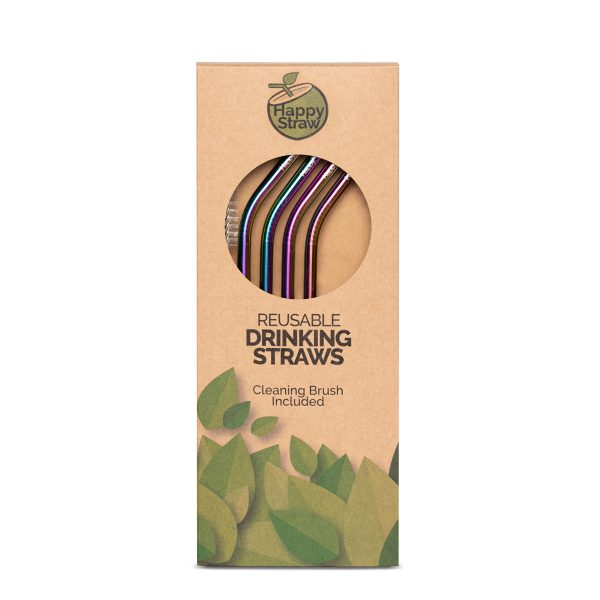 rainbow reusable drinking straw happy straw