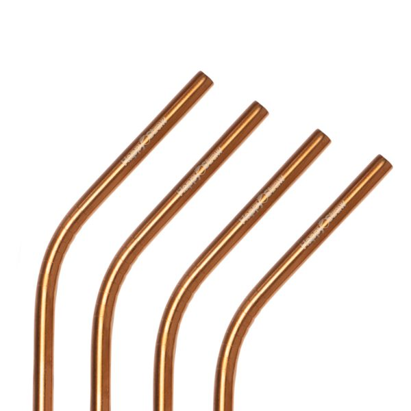 rose gold stainless steel reusable drinking straws happy straw eco-friendly and sustainable choice