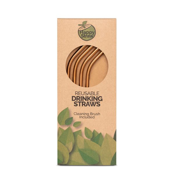 rosegold reusable stainless steel drinking straws happy straw sustainable choice eco-friendly
