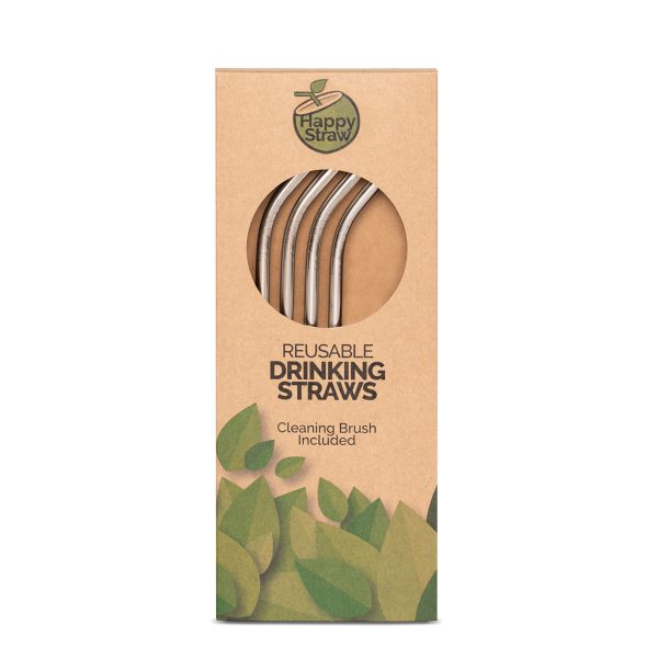 silver reusable stainless steel straw happy straw