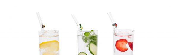 3D glass straws happy straw